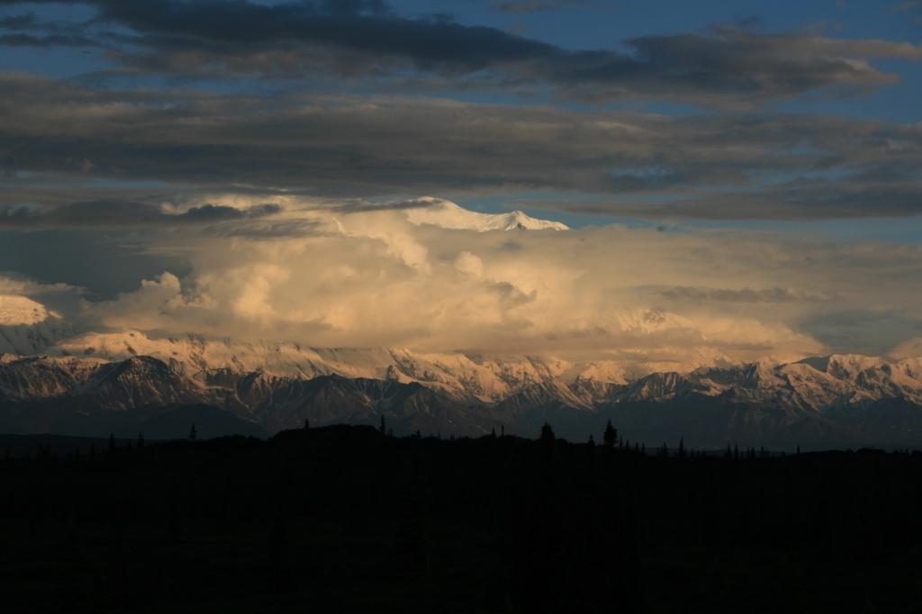 Denali with setting sun