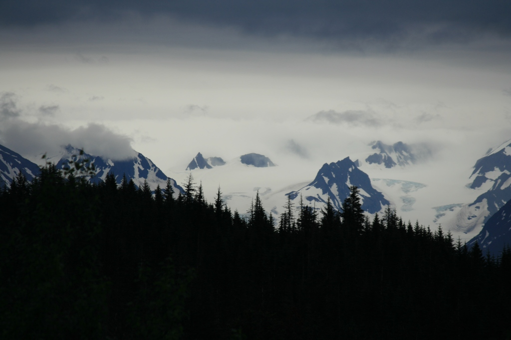 Mountains, snow, clouds
